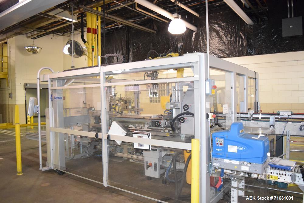 Used- Cermex Model SD68.60 Case Erector.  Equipped with a Nordson Pro Blue 7 hot melt glue unit. S/N 39708