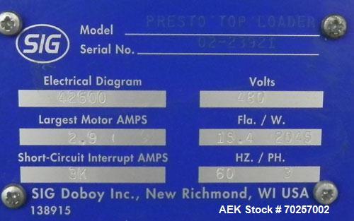 Used- SIG Doboy Presto Robotic Top Load Case Packer