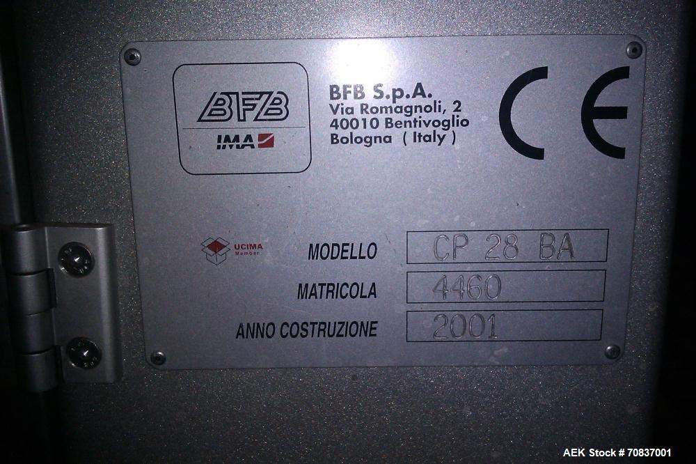 Used-IMA BFB CP28 BA Case Packer.  Capacity is up to 8 cases per minute.  Equipped with PLC control panel and set up for tap...