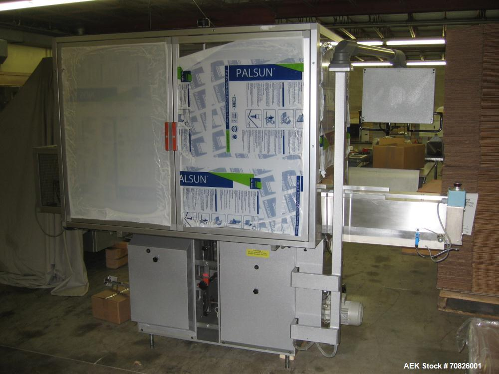 Used-PRB Packaging Systems Case Packer for Cartons. 70 cycles per minute, 20-35 microns polypropylene. Product infeed height...