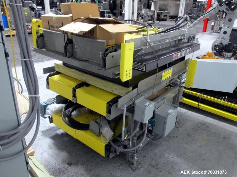 Used- Motoman Robot Packaging Robotic Case Packaging System. Consisting of Motoman robotic arm, model MPL80, 5-point articul...