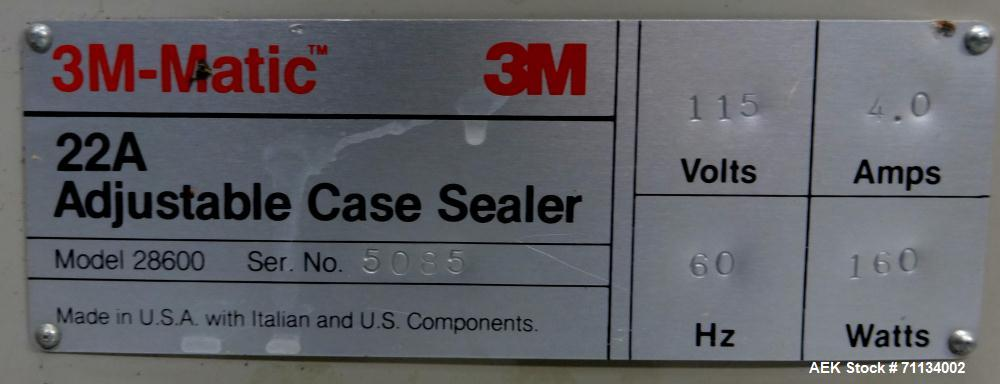 Used- 3M-Matic 22A Model 28600 Adjustable Top & Bottom Case Taper