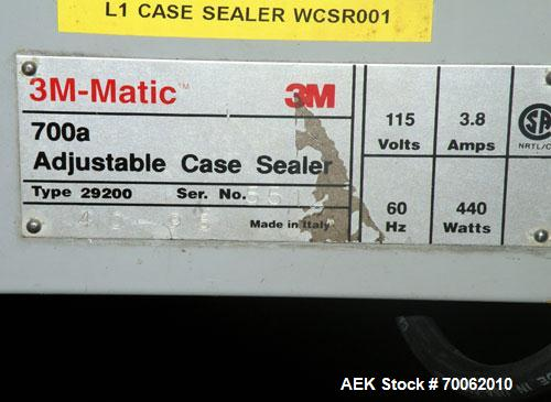 Used- 3M-Matic Top Only Adjustable Case Sealer, Model 700A, Type 29200, Carbon Steel. Up to 30 cases per minute. Case size r...