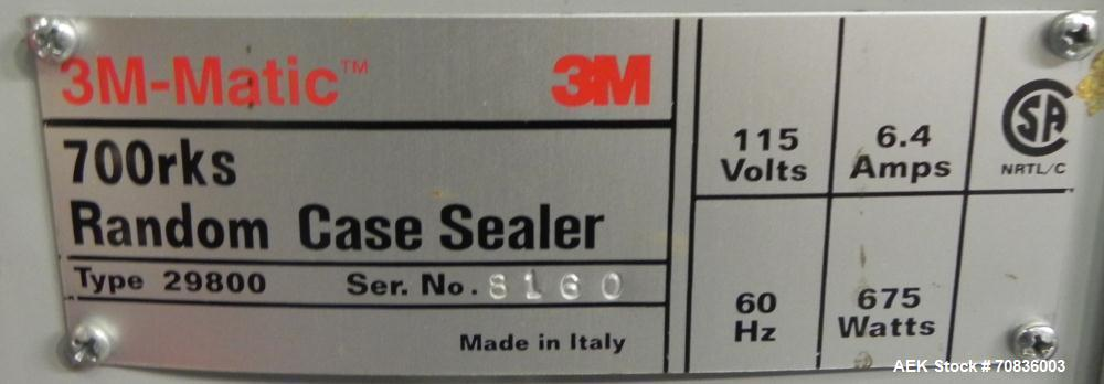 """Used- 3M-Matic Model 700RKS Top Random Case Sealer. Has 3"""" w Top tape head. Capable of speeds up to 15 cases per minute. Cas..."""