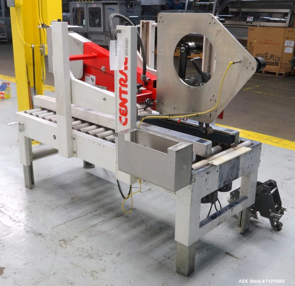 Used- Central Products Carton Sealing Machine, Model CP-522, S/N 9040329. Top & bottom flap taping with automatic top flap c...