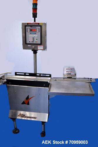 Used- Alpha (All-Fill) Model CW-10 Checkweigher. Capable of speeds up to 300 packages per minute. Can handle package weights...