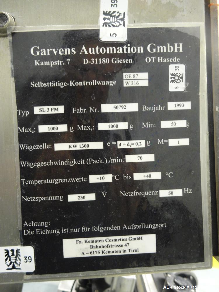 Used- Garvens Model SL3PM Belt Sytle Aerosol Can Checkweigher