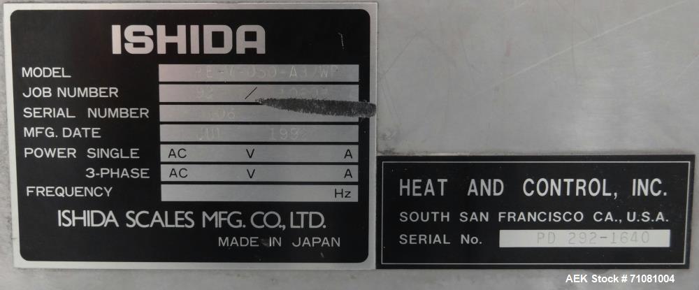 Used- Ishida DACS-V-012-SB/WP-1 Belt Checkweigher