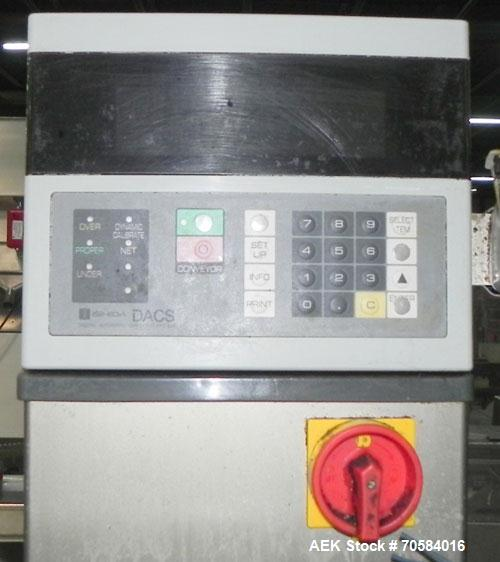 Used- Ishida Model DACS-W-012-SB/WP-I Belt Check Weigher. Machine is rated at 330 weighs per minute (depending on product si...