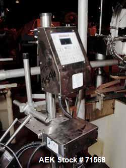 """Used- Foxjet Ink Jet Coder, Model Quantum 8. Mounted on adjustable stand and includes 34"""" long x 3-1/2"""" wide rubber belt con..."""