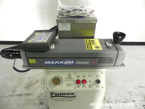 Used- Markem Model SmartLase 110 Laser Printer. Capable of speeds up to 400 characters per second. Unit includes Fumex air p...