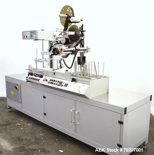 """Used- Metronic Peel Plate Labeling Machine, Type UDA 150 S. Approximate 4-1/2"""" web width. Right to left operation, top down ..."""