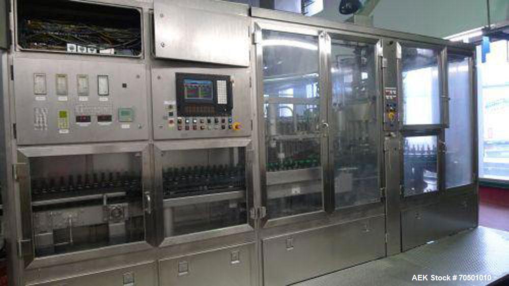 Used-Complete Bottling Line for soft drinks, alcoholic beverages, cider, water and vodka.  For bottles from 0.33 - 0.3 liter...