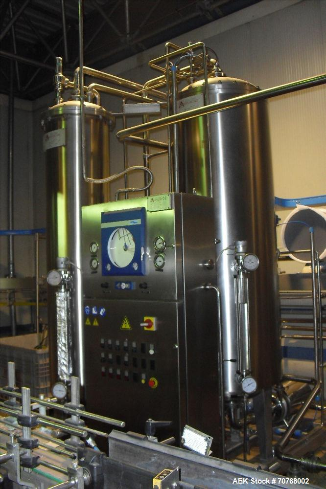 Used-PET Filling Line for the filling of soft drinks and mineral water, still and sparkling into PET bottles with 0.5, 1.0 a...