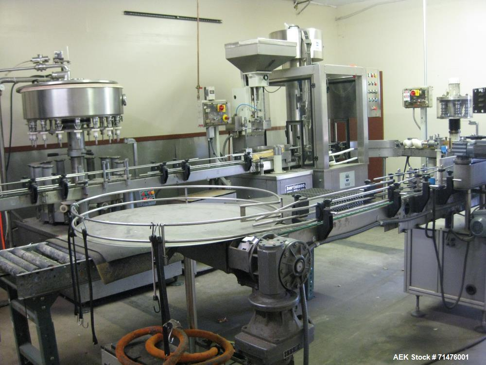 Used- Complete Bottling Line. Includes: 1986 Cobert Olympia 16 spout filler, 1986 Bertolasso single head corker and 5 head f...