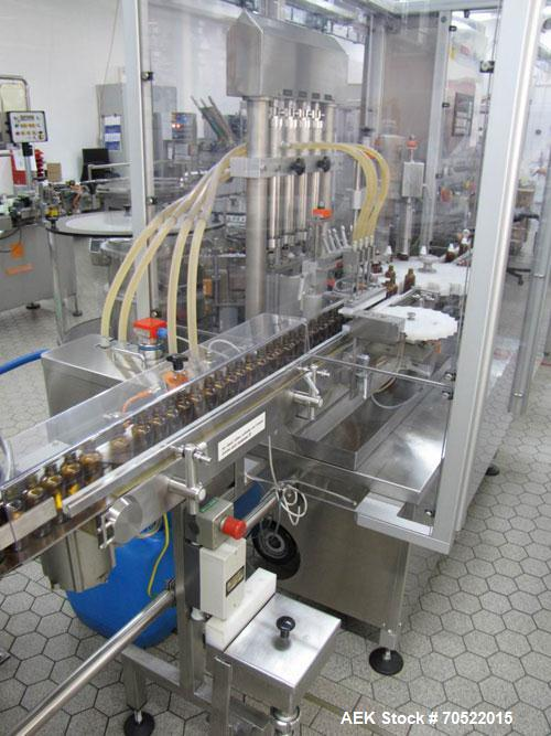 Used-Bosch MRF 1010 Bottle Filling/Closing Machine. Filling range 0.1 - 8.5 fl oz (0.5 - 250 ml), output 3,000 bottles an ho...