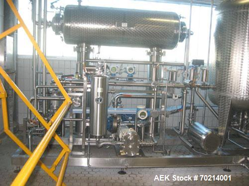 Used-KHS/SIPA PET Filling Line, built 2004. Capacity 9000 bottles per hour at 0.4 gallons (1.5 liters) PET bottles. Comprise...