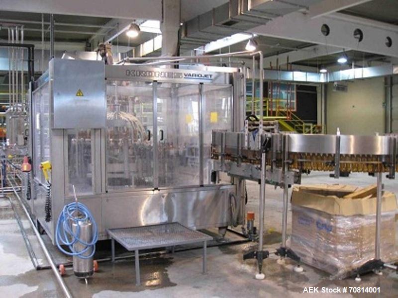Used-Complete Krones PET Bottling Line for carbonated drinks.  Capacity 4800 bottles/h.  For bottles 11.1 fl oz (330 ml).  S...