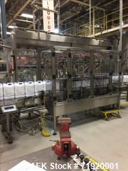 Used-Epak 14 head inline positive displacement filling line for detergents, liquids, creams or pastes. Last running laundry ...