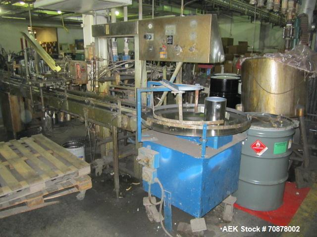 "Used-Neupak Paint Can Filling Line.  Line consists of a 36"" diameter feed table, Neupak two head piston filler with pin inde..."