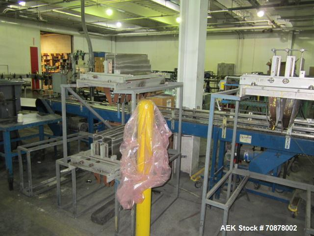 """Used-Neupak Paint Can Filling Line.  Line consists of a 36"""" diameter feed table, Neupak two head piston filler with pin inde..."""