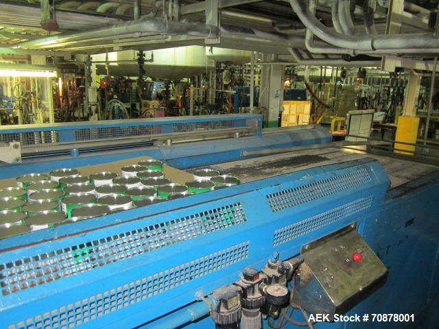 Used-Complete Theile Paint Can Filling Line.  Line consists of a General Conveyor Systems semi-automatic can depalletizer, M...