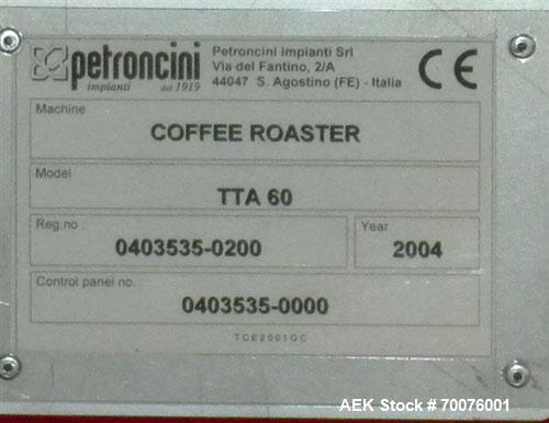 Used-Coffee Roasting System: ) Petroncini TTA 60 Roaster(60KG per batch with output of 3 to 4 batches per hour) with ELP 60 ...