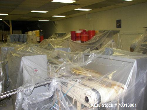 Used- Complete Corazza Stick Pack Candy Line consisting of (8) Corazza die fold overwrappers for printed foil film. Four fee...