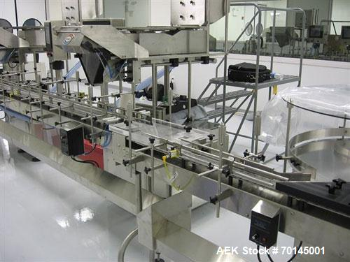 Used-Modular DC-12 Dual Lane Electronic Tablet/Capsule Filling Line. Consists of a Kapsall model AU6 bottle orienter with io...