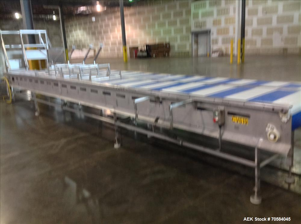 Used- Approximately 20'L tortilla, make up conveyors with operator load shelves.