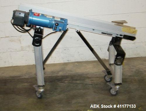 "Used- Dorner Belt Conveyor, 2100 Series, Model 696499. 3-3/4"" wide x 48"" long cleated belt. Cleats are 1-1/4"" tall and has 5..."