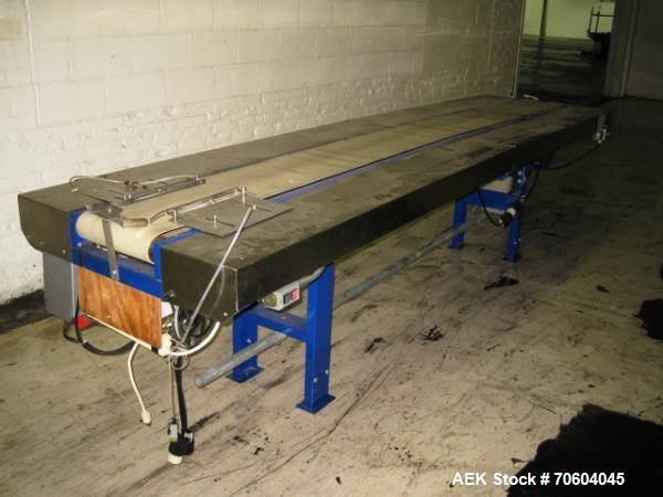"""Used- Island Equipment pack-off conveyor, 1' wide x 12' long, with 10"""" stainless steel side rails, 1/2 hp variable speed mot..."""