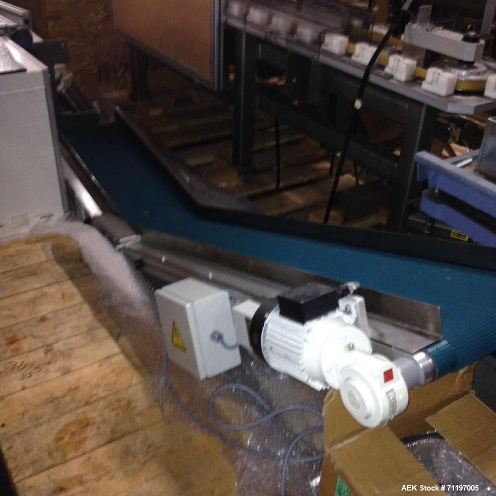 """Used- Belt Conveyor 12"""" wide with a 33"""" straight floor run,with a  60"""" angled up run, approx. 36"""" discharge elevation, 3/60/..."""