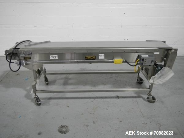 "Used- Kamflex belt conveyor, model 771, 12"" wide x 7.5' long, on legs with .5 hp, 1750 rpm dc motor with Seco speed controll..."