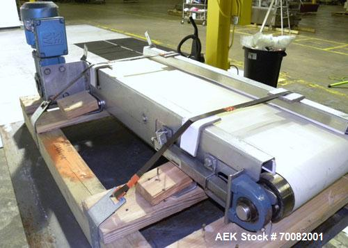 "Used- Belt Conveyor. 12"" wide x 42"" long rubber belt, driven by a 1/2hp, 3/60/230/460 volt, 1700 rpm gear motor, ratio 58.6 ..."