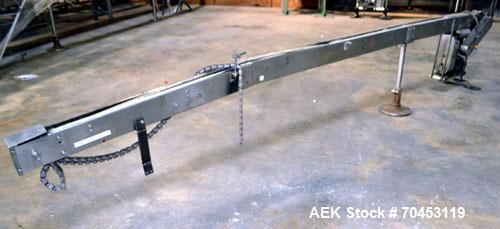 "Used- Table Top Belt Conveyor. Approximately 3"" wide x 180"" long belt. Has motor. Mounted on a stainless steel frame. SELLIN..."
