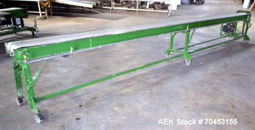 "Used- Belt Conveyor. Approximately 10"" wide x 224"" long belt. Has motor. Mounted on a carbon steel frame. SELLING PRICE AS I..."
