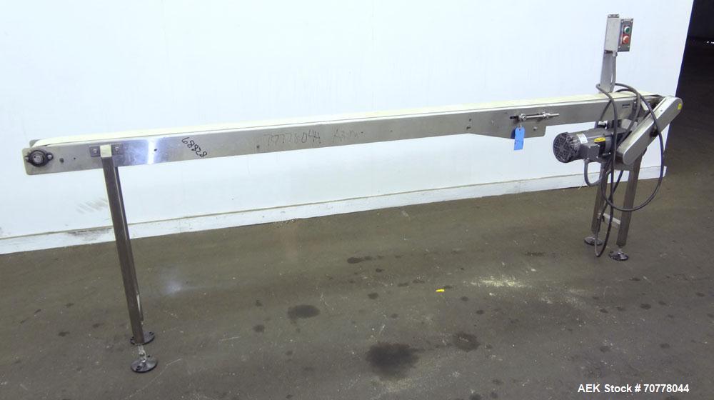 "Used- Belt conveyor approximately 5"" wide x 120"" long belt. Stainless steel frame. Adjustable height legs. Leeson variable s..."