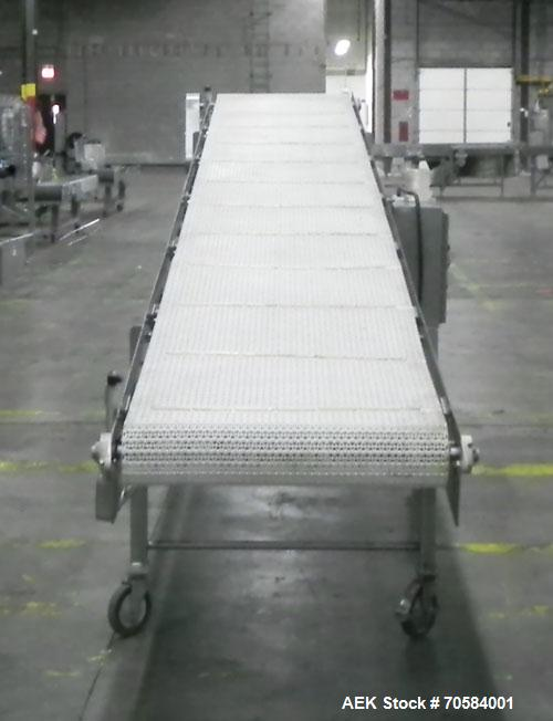 "Used- Panatrol Stainless Steel Inclined Mesh Belt Conveyor.  Approximately 29-1/2"" wide x 213"" long plastic mesh belt. Appro..."