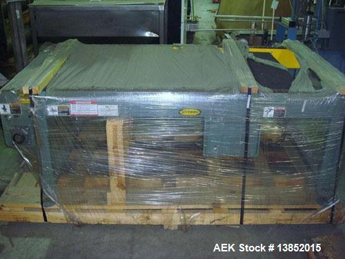 Used-Unused-Hytrol pallet conveyor, new in crate. Drag chain conveyor will lift and rotate pallet 90 degrees. 7' OAL x 40-7/...