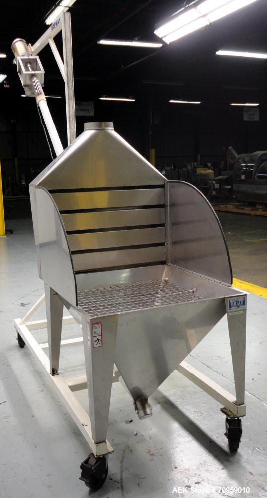 "Used- Hapman Model 300SS Helix Fleixible Screw Conveyor. Has 3"" diameter X 120"" long screw, 96"" discharge height, and has a ..."