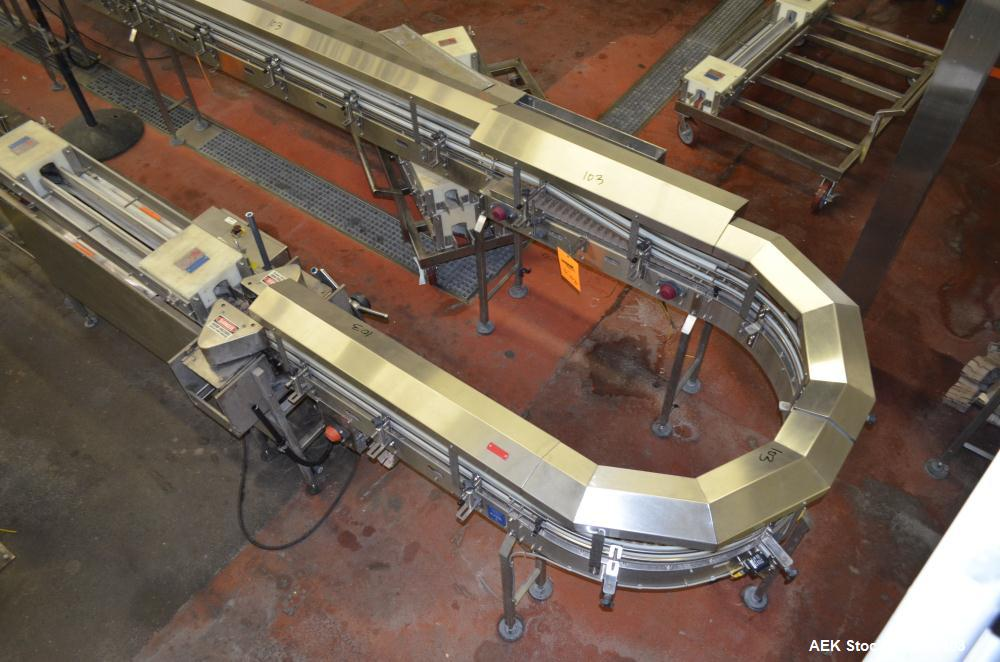 "Used- Table Top Belt Conveyor. Approximately 4"" wide x 1500"" long, partial belt.  Stainless steel frame.  Includes (9) turns..."