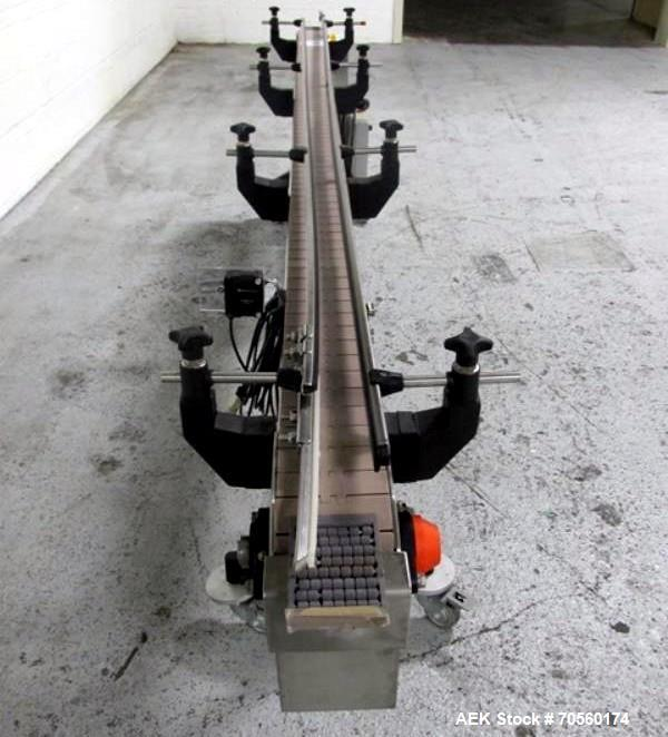 """Used- Slat Conveyor, 4.5"""" wide x 115"""" long, driven by .75 hp motor, with VFD."""