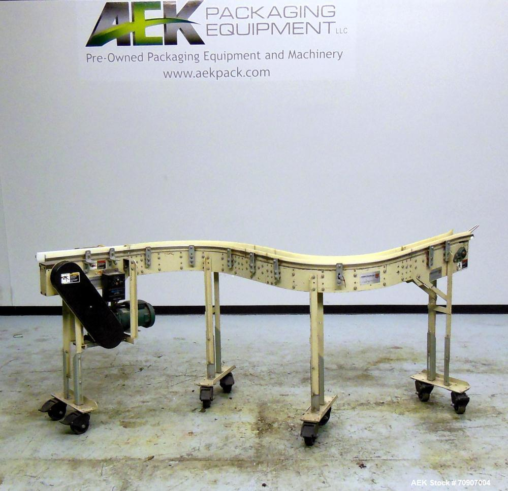 "Used- Arrowhead S"" Curve Table Top Chain Conveyor"