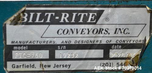 Used- Bilt Rite Table Top Conveyor,Model FTC-760