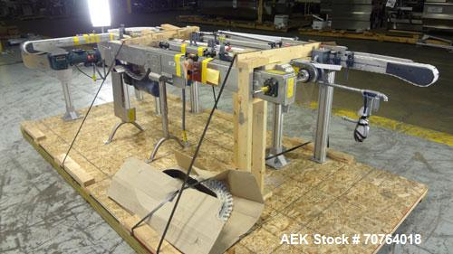 "Used- Flexlink 20 Conveyor. Counterclock with 10"" radius. 3-1/4"" flexible belt. 3-1/4"" Delrin tabletop chain."
