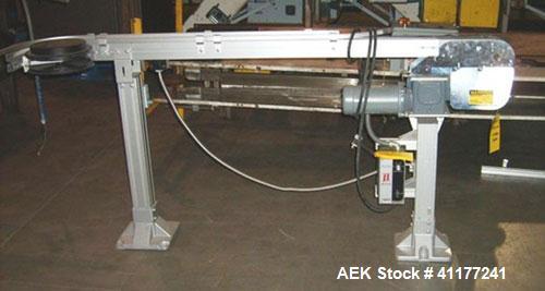 Used- Flexline Conveyor System. Has 10' long straight section, 90 deg turn, 8' straight section into 90 deg turn, 6' long st...