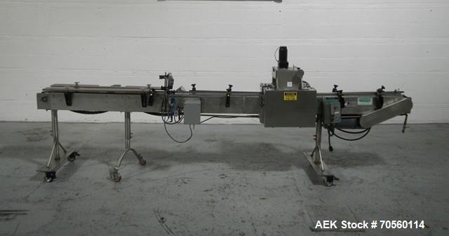 "Used- Garvey Tabletop Conveyor, Model 9600. Approximate 4.5"" wide x 146"" long. Serial# 8524. Includes a belt cap tightner."