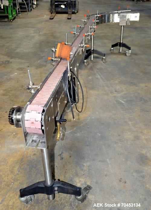 """Used- JG Machine Works Table Top 90 Degree Belt Conveyor. Approximately 3"""" wide x 128"""" long into a 90 degree belt. Has motor..."""