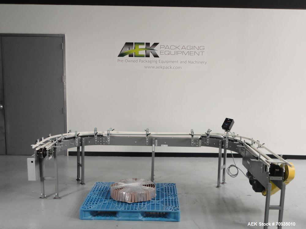 """Used- Pack Air 4-1/2"""" Belt Conveyor. Has 30"""" infeed height, 16""""L Straight, 90 deg. right turn, 60""""L Straight, 90 deg. right ..."""